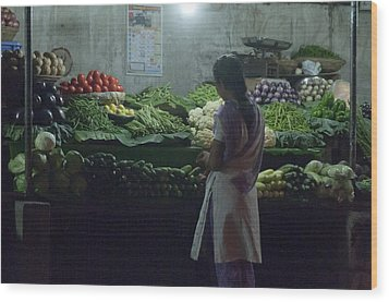 Produce Shop And The Owner Wood Print by Scott Lenhart