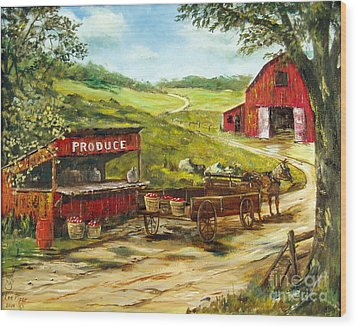 Wood Print featuring the painting Produce Stand by Lee Piper