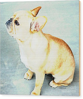 Wood Print featuring the painting Profile In Frenchie by Barbara Chichester