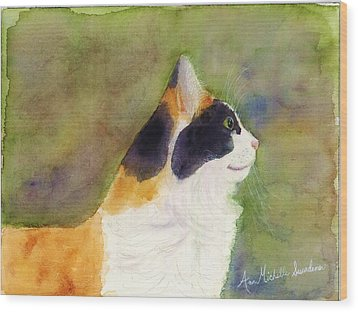 Profile Of A Cat Wood Print