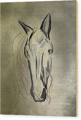 Profile Of A White Horse Wood Print by Angela A Stanton