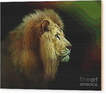 Profile Of The Lion King Wood Print by Robert Foster