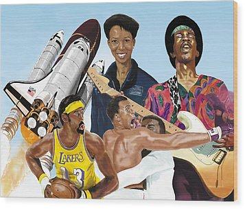 Wood Print featuring the digital art Jimi, Muhammad Ali, Wilt Chamberlain And Mae Carol Jemison by Thomas J Herring
