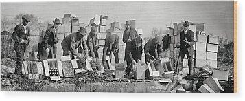Prohibition Feds Destroy Liquor  1923 Wood Print by Daniel Hagerman