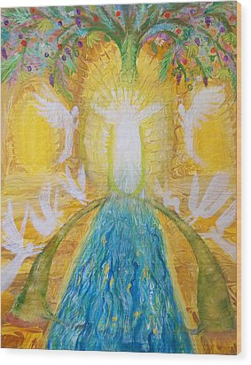 Prophetic Message Sketch 11 Two Trees Become One Tree And River Of Life Wood Print by Anne Cameron Cutri