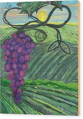 Prophetic Message Sketch 18 Vineyard Infinity Trinity Wood Print by Anne Cameron Cutri