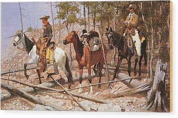 Prospecting For Cattle Range Wood Print by Frederic Remington