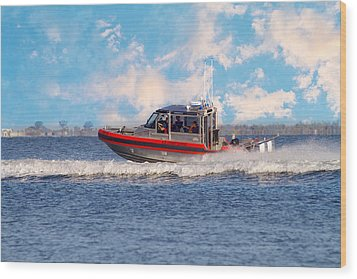 Protecting Our Waters - Coast Guard Wood Print by Kim Hojnacki