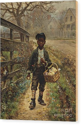 Protecting The Groceries Wood Print by Edward Lamson Henry