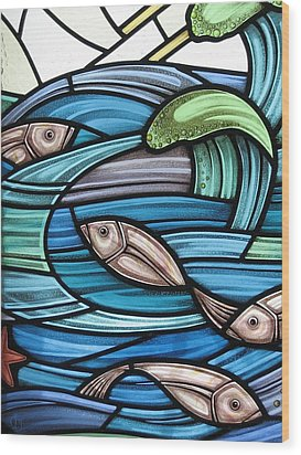 Wood Print featuring the glass art Protection Island Seascape by Gilroy Stained Glass