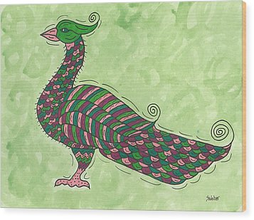 Wood Print featuring the painting Proud As A Peacock by Susie Weber