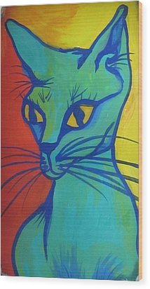 Proud Cat Wood Print by Cherie Sexsmith