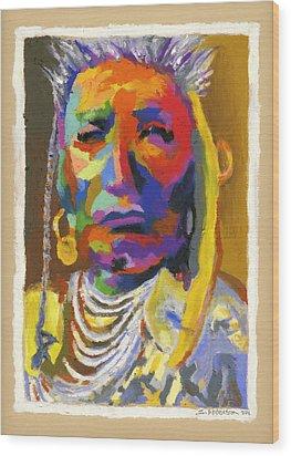 Proud Native American Wood Print by Stephen Anderson