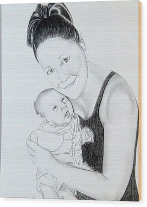 Wood Print featuring the drawing Proud Parent by Sharon Schultz