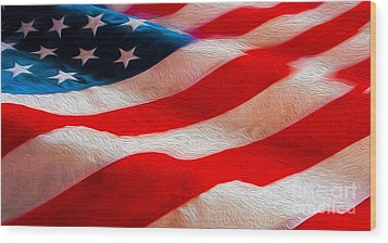 Proud To Be American Wood Print by Jon Neidert