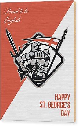 Proud To Be English Happy St George Greeting Card Wood Print by Aloysius Patrimonio