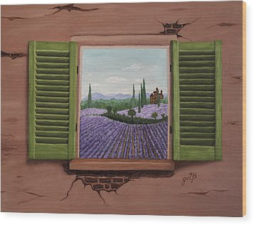 Wood Print featuring the painting Provence Lavander Fields Original Acrylic by Georgeta Blanaru