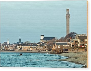 Provincetown Bay And Monument Wood Print