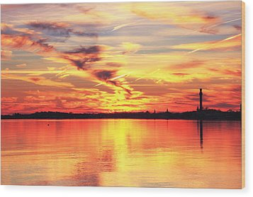 Provincetown Harbor Sunset Wood Print by Roupen  Baker