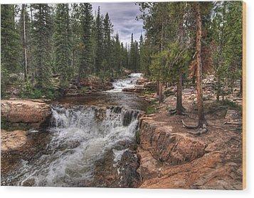 Provo River Falls Wood Print by Jeremy Farnsworth
