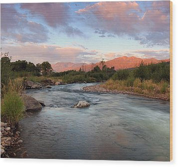 Provo River Sunrise Wood Print by Johnny Adolphson