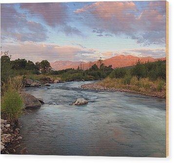 Provo River Sunrise Wood Print