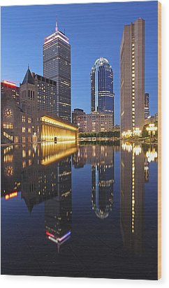 Prudential Center At Night Wood Print by Juergen Roth