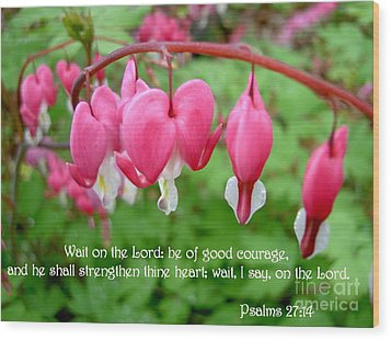 Psalms 27 14 Bleeding Hearts Wood Print by Sara  Raber