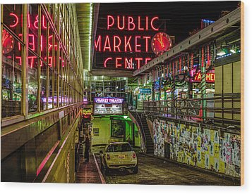 Psychadelic Midnight Colors At Pike Place Market Wood Print by Brian Xavier