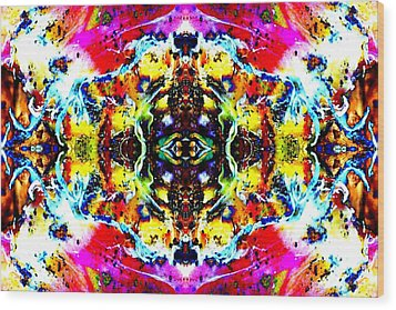 Psychedelic Abstraction Wood Print by Marianne Dow