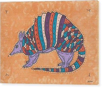 Wood Print featuring the painting Psychedelic Armadillo by Susie Weber