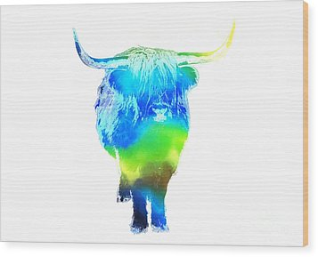Psychedelic Bovine #2 Wood Print by Pixel  Chimp