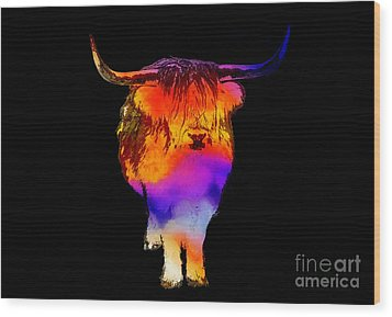 Psychedelic Bovine Wood Print by Pixel Chimp