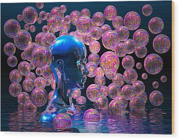 Psychedelic Bubbles Wood Print by Carol and Mike Werner