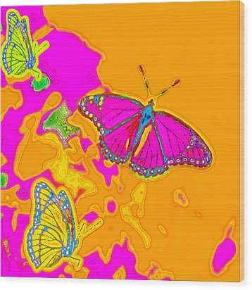 Psychedelic Butterflies Wood Print by Marianne Campolongo