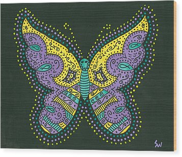 Wood Print featuring the painting Psychedelic Butterfly by Susie Weber