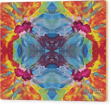 Psychedelic Collision Wood Print by Pattie Calfy