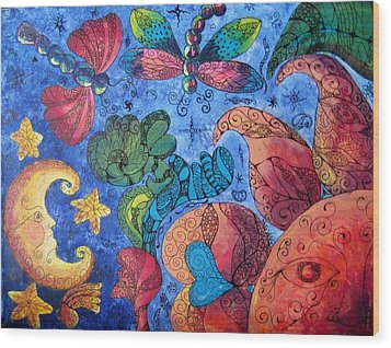 Psychedelic Dreamscape Wood Print by Megan Walsh
