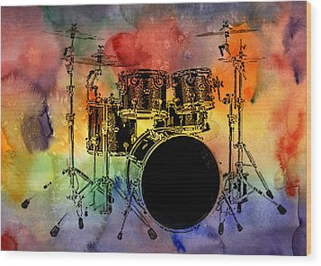 Psychedelic Drum Set Wood Print