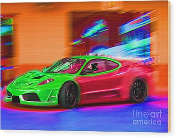Wood Print featuring the photograph Psychedelic Ferrari by Gunter Nezhoda
