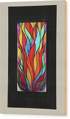 Psychedelic Flames Wood Print by Rick Roth