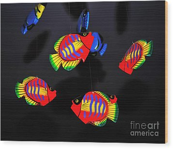 Psychedelic Flying Fish Wood Print by Kaye Menner