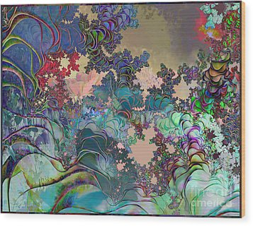 Psychedelic Garden Wood Print by Ursula Freer