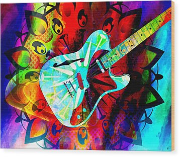 Psychedelic Guitar Wood Print by Ally  White