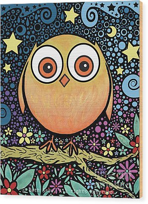 Psychedelic Owl Wood Print by Beth Snow