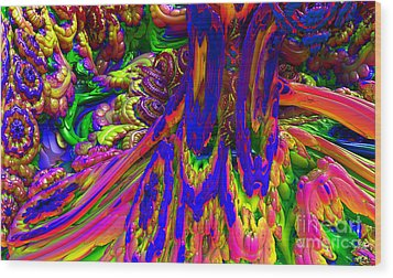 Wood Print featuring the digital art Psychedelic Pastries by Arlene Sundby