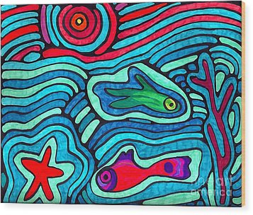 Psychedelic Sea Wood Print by Sarah Loft