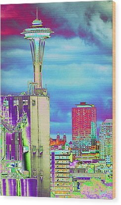 Psychedelic Seattle Wood Print by Richard Henne