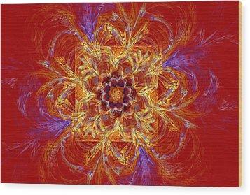 Psychedelic Spiral Vortex Red Orange And Blue Fractal Flame Wood Print by Keith Webber Jr