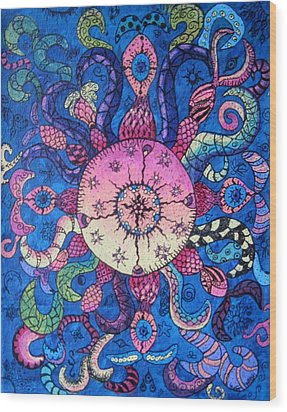 Psychedelic Squid Wood Print by Megan Walsh